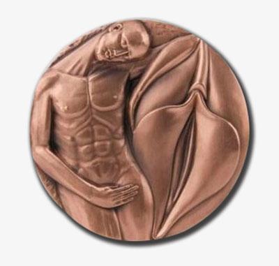 思之爱 爱之思国内首枚双金属镶合高浮雕大铜章